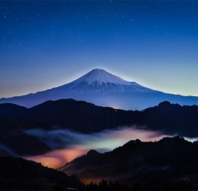 mount fuji among clouds