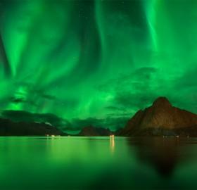 amazing northern lights sky of lofoten, norway