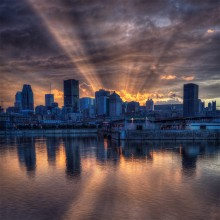 Sunshine Behind Montreal Skyline