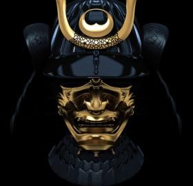 Black And Gold Ancient Samurai Mask