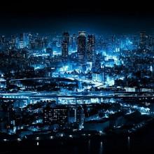 Blue Ligts of Osaka at Night, Japan
