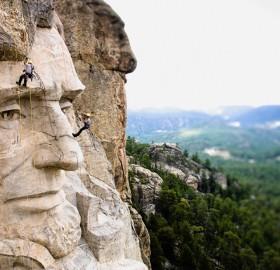 Climbing On Mount Rushmore