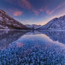 Frozen Bubbles of Multinskiye Lake, Russia
