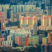 Hong Kong Neighborhood In Tilt-Shift