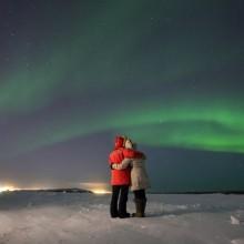 Love Story Below Northern Lights