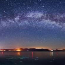 Milky Way Over Danube River, Serbia