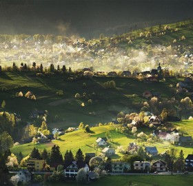Village in Beskids Mountains, Poland