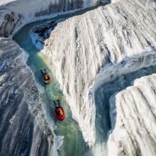 Water Sliding In Glacier