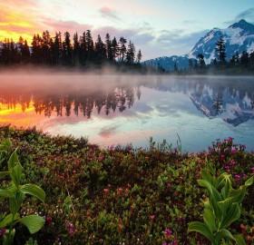 Fire And Ice Of Reflection Lake, Washington