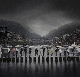 Rainy Day In Ancient City, China