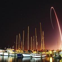 Spacecraft Ascends Through a Night Sky, Florida
