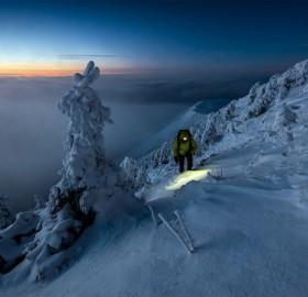 Climbing Malá Fatra Mountain After Sunset, Slovakia