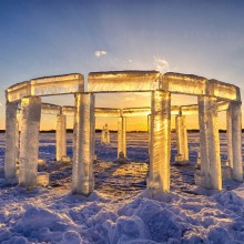 """Icehenge"" – Sculpture on a Frozen Lake"
