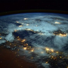 Spirals Of Lights Bursting From Earth