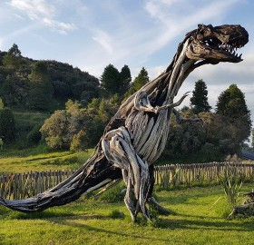 T-Rex Made From Driftwood, New Zealand