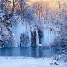 Frozen Waterfalls Of Plitvice National Park, Croatia