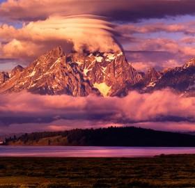Pink Glow Of Teton Range, Wyoming