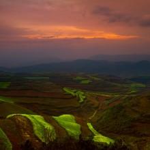 Sunset, Dongchuan Red Land, China