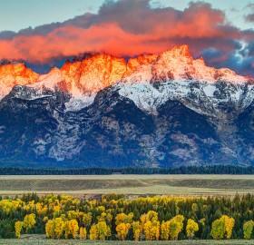 The Teton Range Orange Glow, Wyoming