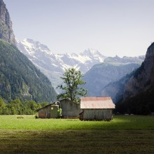 Barn In Lauterbrunnen, Valley Of The Seventy-Seven Waterfalls