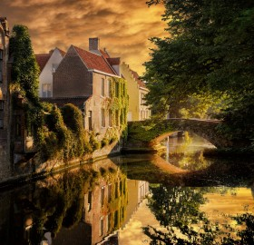 Golden Sunset In Bruges, Belgium