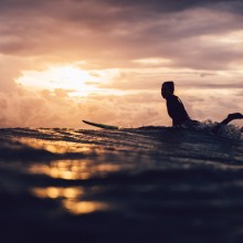 Surfing At Sunset, Australia