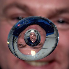 Astronaut Through Water Bubble