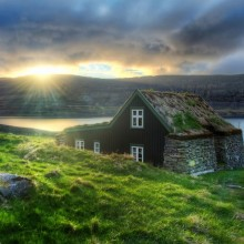 House With Grass Roof In Suyavik, Iceland