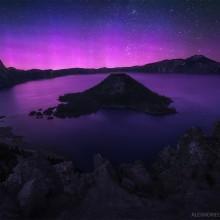 Purple Aurora Borealis Over Crater Lake, Oregon