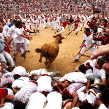 Running With Bulls, Pamplona, Spain