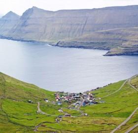 Small Town Funningur On Coast Of Faroe Islands