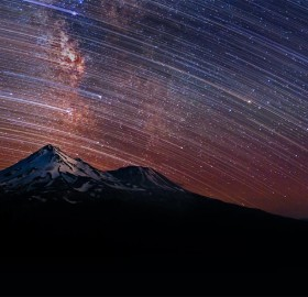 Star Trails Over Mount Shasta, California