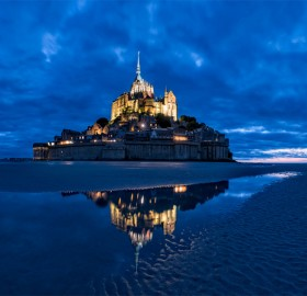 Island With Medieval Monastery, Mont Saint Michelle, France