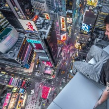 Sitting Above Times Square, New York