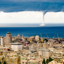 Huge Waterspout Twister, Genoa, Italy