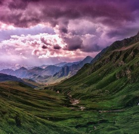Purple Sky Over Switzerland Landscapes